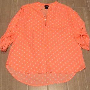 Polka Dot fluorescent orange tunic sz XL